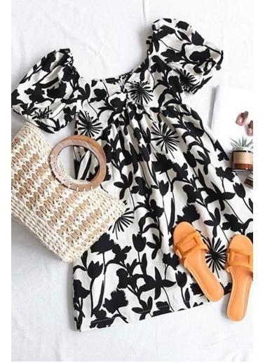 BLACK&GRACE Kadım Siyah-Beyaz Çiçek Desenli Elbise Siyah